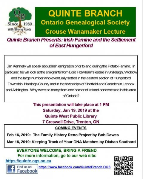 Quinte Branch Presents: Irish Famine and the Settlement of East Hungerford