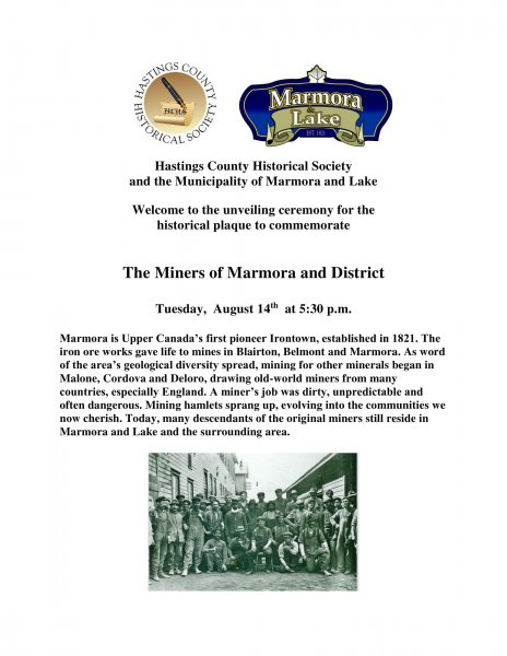Unveiling Ceremony: Historical Plaque to Commemorate Marmora Miners