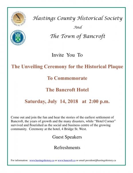 Unveiling Ceremony: Historical Plaque to Commemorate the Bancroft Hotel