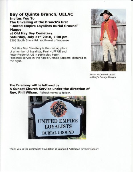 Plaque Unveiling: United Empire Loyalists Burial Ground