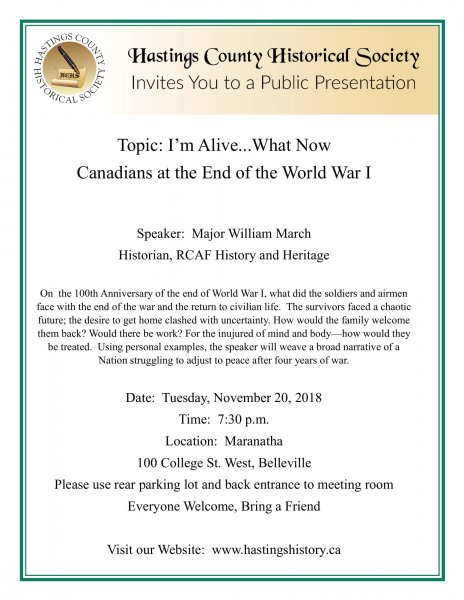 Presentation: The End of WWI, 100 Years Ago