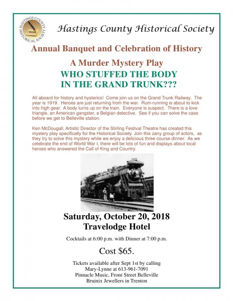 Hastings County Historical Society Annual Banquet and Celebration of History